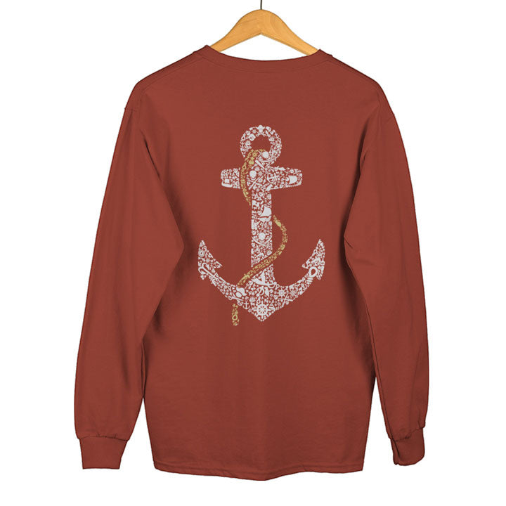 Teexpression Sweatshirts, anchor design printed on maroon sweatshirt