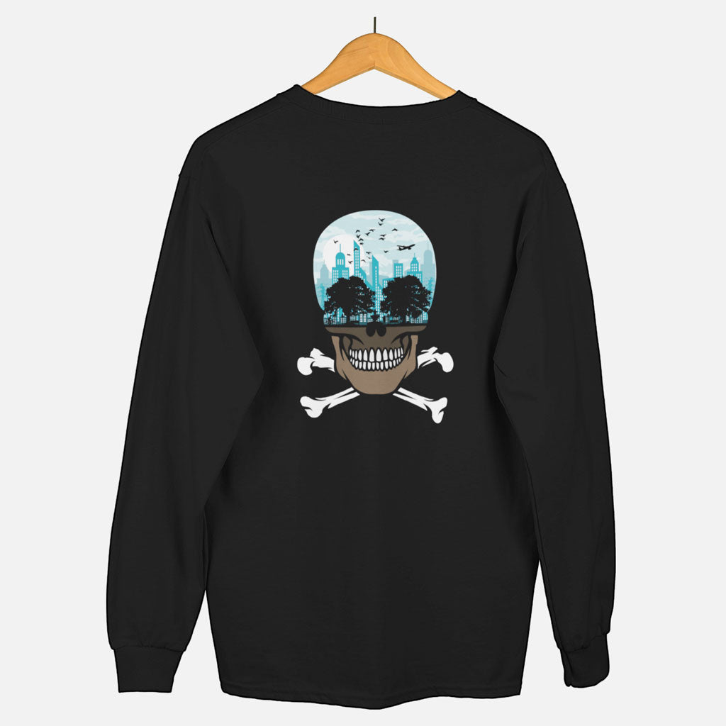 Teexpression, sweatshirt black, on hanger, skull design printed