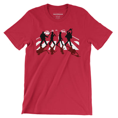 Abbey Road Killer—representation of four horror characters crossing zebra crossing with their weapons of destruction, giving homage to popular thriller/horror movie—on a red t-shirt both for men and women