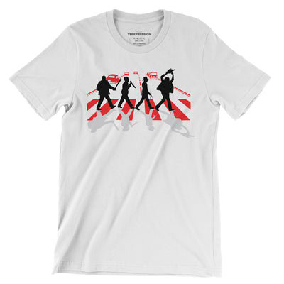 Abbey Road Killer—representation of four horror characters crossing zebra crossing with their weapons of destruction, giving homage to popular thriller/horror movie—on a white t-shirt both for men and women