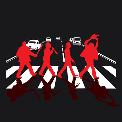 Abbey Road Killer printed on Black Unisex premium tee from Teexpression premium tee in detail close up