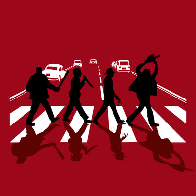 Abbey Road Killer printed on Red Unisex premium tee from Teexpression premium tee in detail close up