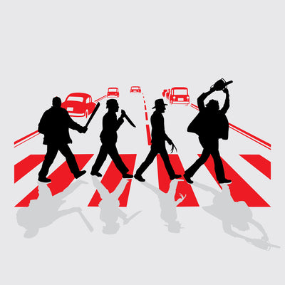 Abbey Road Killer printed on White Unisex premium tee from Teexpression premium tee in detail close up