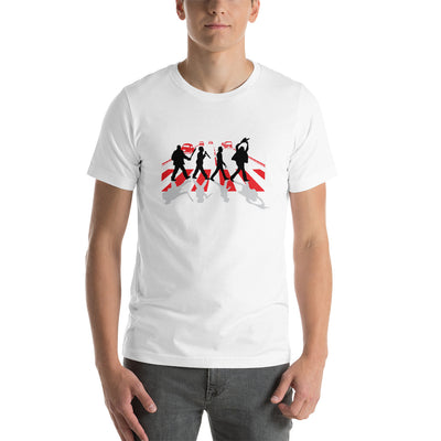 Abbey Road Killer printed on white Unisex premium tee from Teexpression Front Mens