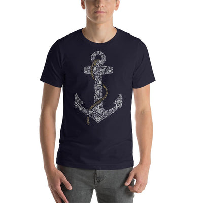 Man wearing Anchor designed tee on Navy