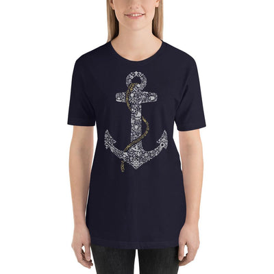 Woman wearing Anchor designed tee on Navy