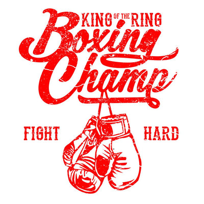 Close up view of Boxing Champ King of the Ring Unisex Crew Neck Sweatshirt white