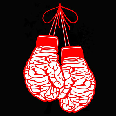 Close up view of Brain Boxing Gloves on black Unisex Premium Tank Top