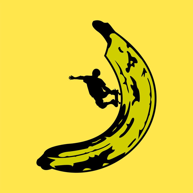 Banana Skateboard design on flat Yellow t-shirt