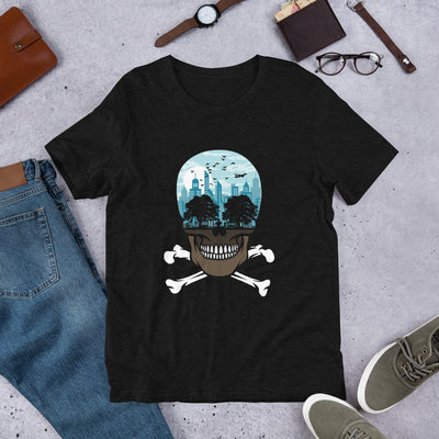 The city of death mockup Front Flat Lifestyle Black Heather from teexpression