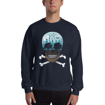 The city of death mockup Front Mens on navy sweatshirt from teexpression