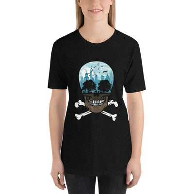 The city of death mockup Front Womens Black Heather from teexpression