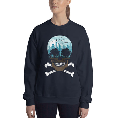 The city of death mockup Front Womens on navy sweatshirt from teexpression