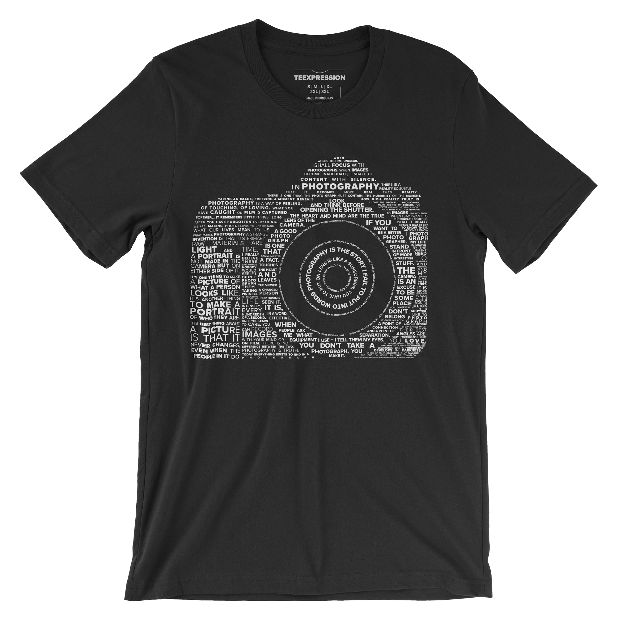 Famous quotes typographically collaged to form a camera on black t-shirt Teexpression