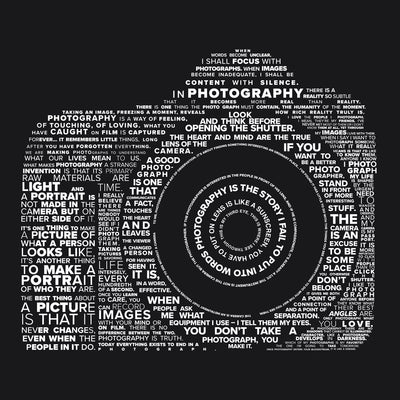 Close up view of Famous quotes typographically collaged to form a camera on Black tank tops for both men and women from Teexpression