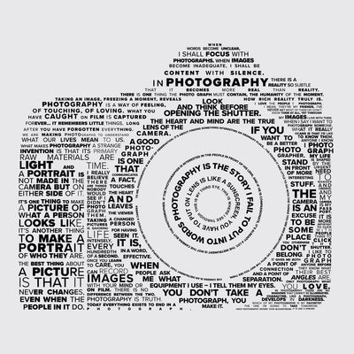 Close up view of Famous quotes typographically collaged to form a camera on white tank tops for both men and women from Teexpression