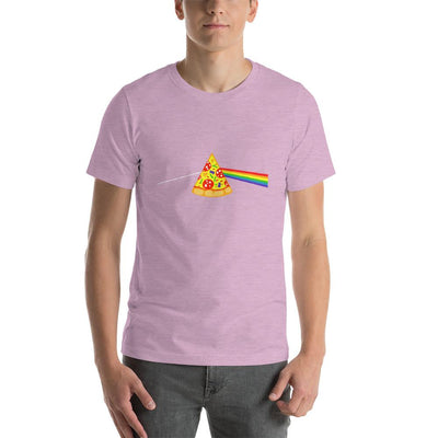 Man wearing Pizza rainbow designed tee on Heather prism lilac