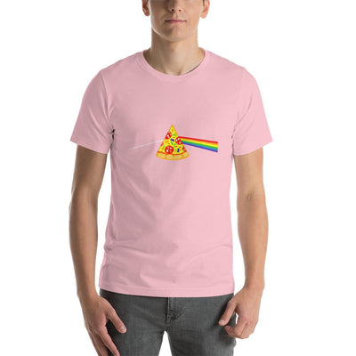 Man wearing Pizza rainbow designed tee on pink