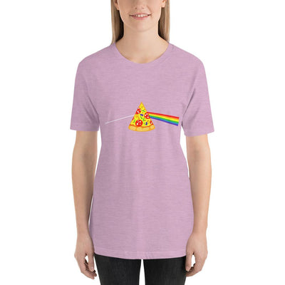 Woman wearing Pizza rainbow designed tee on Heather prism lilac
