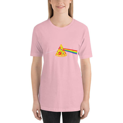 Woman wearing Pizza rainbow designed tee on pink