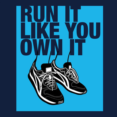 Run it like you Own it Women's Relaxed T-Shirt navy close up view