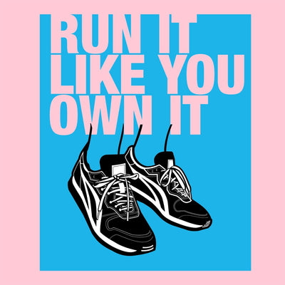 Run it like you Own it Women's Relaxed T-Shirt pink close up view