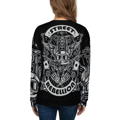 Street Rebellion all over print sweatshirt on black mockup Back Woman