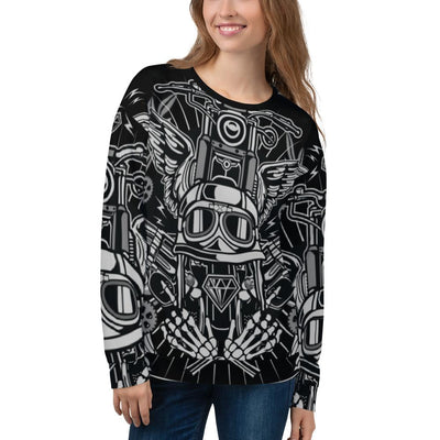 Street Rebellion all over print sweatshirt on black mockup Front Woman
