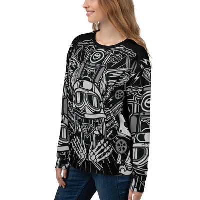 Street Rebellion all over print sweatshirt on black mockup Left Front Woman