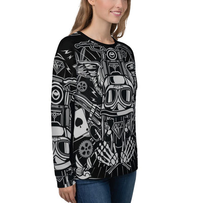 Street Rebellion all over print sweatshirt on black mockup Right Front Woman