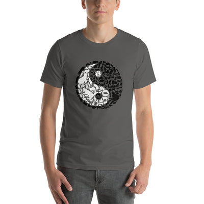 YinYang Cats Unisex premium tee from Teexpression Front Mens Asphalt
