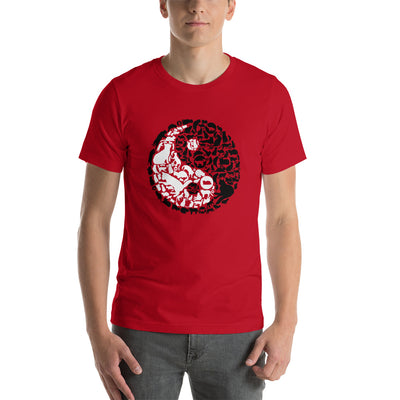 YinYang Cats Unisex premium tee from Teexpression Front Mens Red