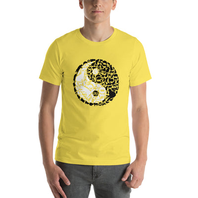 YinYang Cats Unisex premium tee from Teexpression Front Mens Yellow