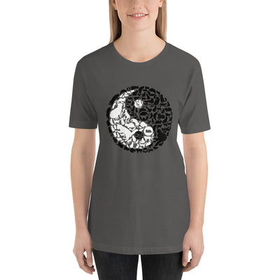 YinYang Cats Unisex premium tee from Teexpression Front Womens Asphalt