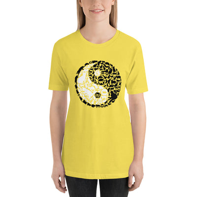 YinYang Cats Unisex premium tee from Teexpression Front Womens Yellow