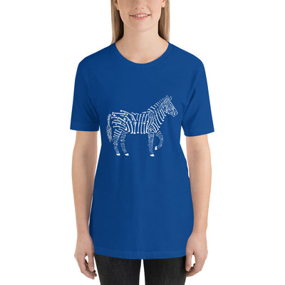 Zebra Bones printed on true royal Unisex premium tee from Teexpression Front Womens