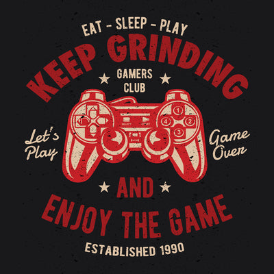 close up Keep Grinding and enjoy the game on black t shirt from teexpression
