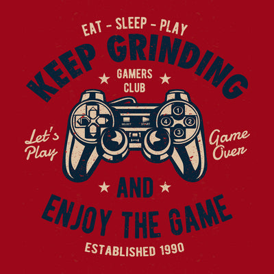 close up Keep Grinding and enjoy the game on red t shirt from teexpression