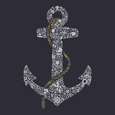 close up view of Anchor design on Navy