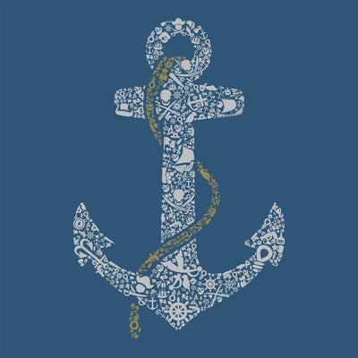 close up view of Anchor design on Steel Blue