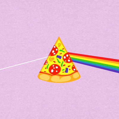 close up view of Pizza rainbow on Heather prism lilac