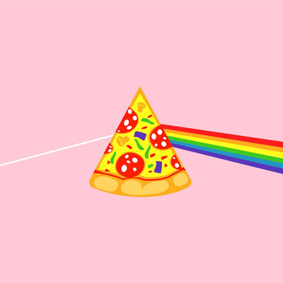 close up view of Pizza rainbow on pink