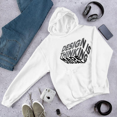 design is thinking made visual on black Unisex Heavy Blend Hoodie from teexpression Front Flat Lifestyle White