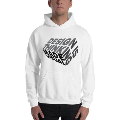 design is thinking made visual on black Unisex Heavy Blend Hoodie from teexpression Front Mens White