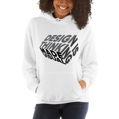 design is thinking made visual on black Unisex Heavy Blend Hoodie from teexpression Front Womens White