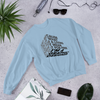 "Typographic 3d design of the phrase ""Just because I enjoy what I do for living doesn't mean I'll do it for free, I'm graphic designer"" on light blue sweatshirt shown on flat layout"