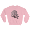 "Typographic 3d design of the phrase ""Just because I enjoy what I do for living doesn't mean I'll do it for free, I'm graphic designer"" on light pink sweatshirt"