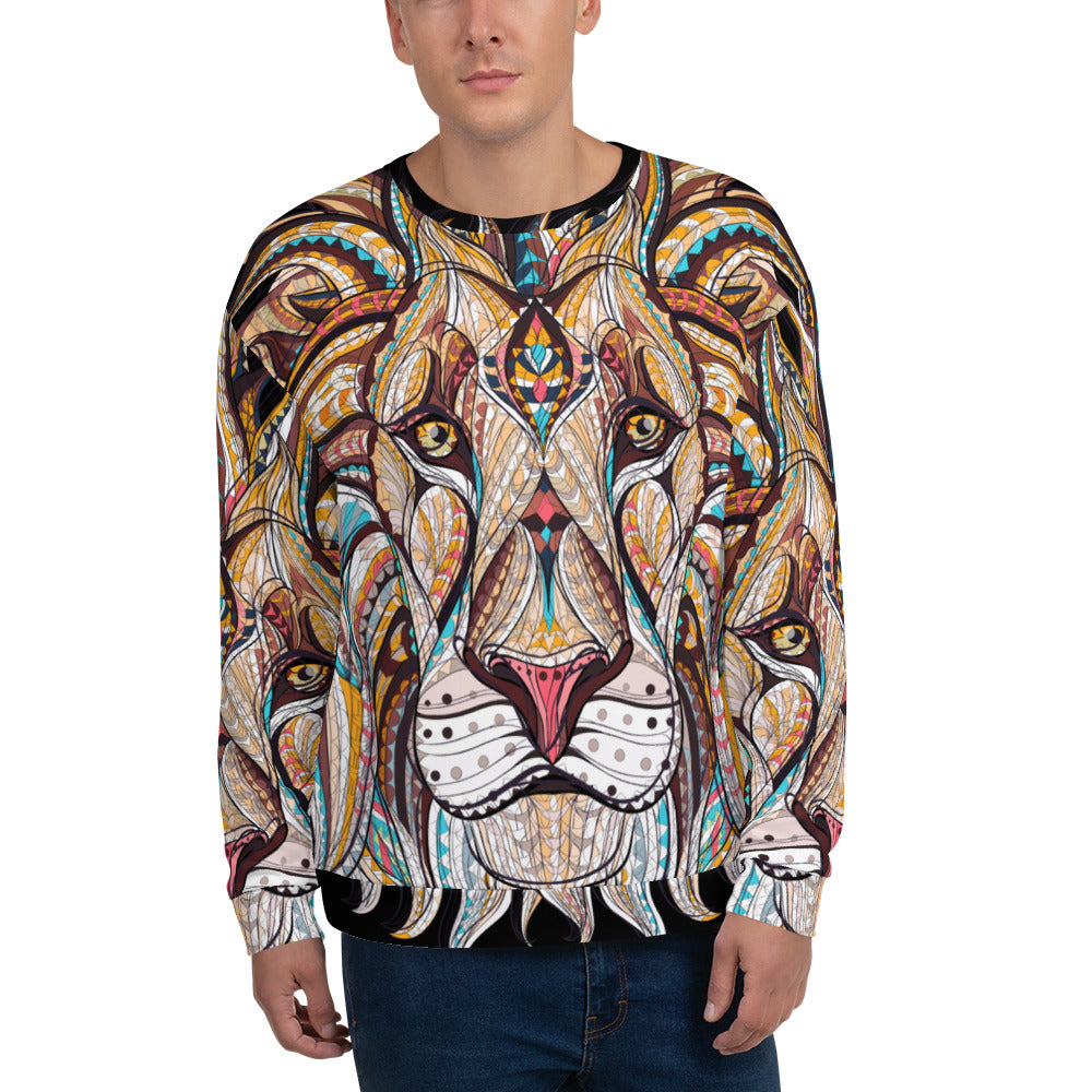 front view of man on King of the Jungle All-Over Print Unisex Sweatshirt