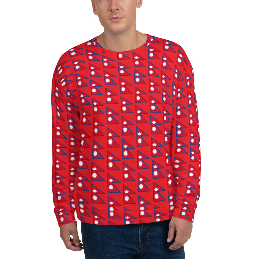 Flag of Nepal Patterns All-Over Print Unisex Sweatshirt