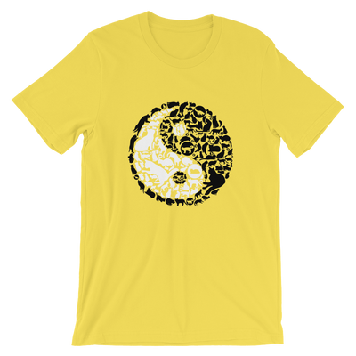 Yin-Yang made of collaged black and white cats on a yellow t-shirt